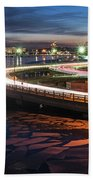 The Icy Charles River At Night Boston Ma Cambridge Bath Towel