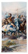 The Indian Encirclement Of General Custer At The Battle Of The Little Big Horn Bath Towel