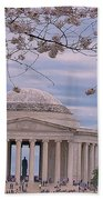 The Jefferson Memorial Attracts Large Crowds At The Cherry Blossom Festival Bath Towel