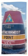 The Key West Florida Buoy Sign Marking The Southernmost Point On Bath Towel