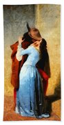The Kiss Of Hayez Revisited Bath Towel