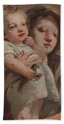 The Madonna And Child With A Goldfinch Bath Towel