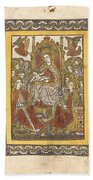 The Madonna Enthroned With Eighteen Holy Women Bath Towel