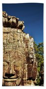 The Many Faces Of Bayon Temple, Angkor Thom, Angkor Wat Temple Complex, Cambodia Bath Towel