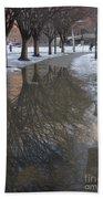 The Mirrored Streets Of Philadelphia In Winter Bath Towel