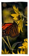 The Monarch And The Sunflower Bath Towel