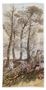 The Officers And Seaman Of The Fleet On Shore At Nargen Bath Towel