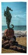 The Original Boy On The Seahorse Statue Bath Towel