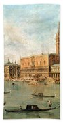 The Palace And The Molo From The Basin Of San Marco Hand Towel