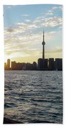 The Precision Of Sunset In The Harbour Bath Towel