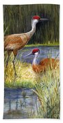 The Protector - Sandhill Cranes Bath Towel