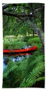 The Red Canoe On The Lake Bath Towel