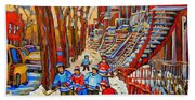 The Red Staircase Painting By Montreal Streetscene Artist Carole Spandau Bath Towel