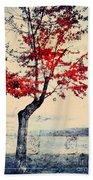 The Red Tree At Okanagan Lake Bath Towel