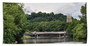 The River And Bridges At Burton On Trent Bath Towel