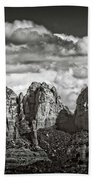 The Rugged Red Rocks In Black And White  Bath Towel