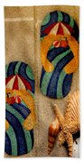 The Sands Of Summer - Flip Flops Bath Towel
