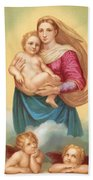 The Sistine Madonna Bath Towel