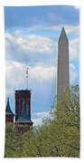 The Smithsonian Castle And Washington Monument In Green Bath Towel