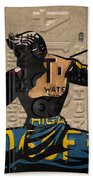 The Spirit Of Detroit Statue Recycled Michigan License Plate Art Homage Bath Towel