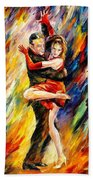 The Sublime Tango - Palette Knife Oil Painting On Canvas By Leonid Afremov Bath Towel