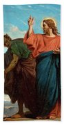The Temptation Of Christ By The Devil Hand Towel