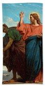 The Temptation Of Christ By The Devil Bath Towel