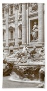 The Trevi Fountain In Sepia Tones Bath Towel