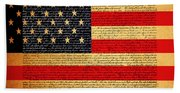 The United States Declaration Of Independence - American Flag - Square Bath Towel