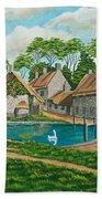 The Village Pond In Wroxton Bath Towel