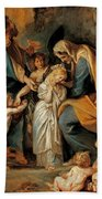 The Virgin Adorned With Flowers Bath Towel