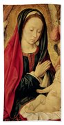 The Virgin And Child Adored By Angels  Bath Towel