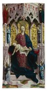 The Virgin And Child Enthroned With Angels And Saints Bath Towel