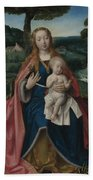 The Virgin And Child In A Landscape Bath Towel
