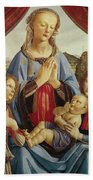 The Virgin And Child With Two Angels Bath Towel