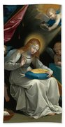 The Virgin Sewing Accompanied By Four Angels. La Couseuse Bath Towel