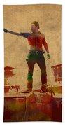 The Walking Dead Watercolor Portrait On Worn Distressed Canvas No 1 Bath Towel
