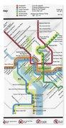 The Washington, D. C. Pubway Map Bath Towel