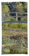 The Waterlily Pond With The Japanese Bridge Bath Towel
