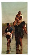 The Way From The Village. Time Of Inundation. Egypt Bath Towel