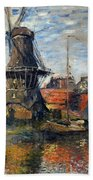 The Windmill Amsterdam Claude Monet 1874 Bath Towel
