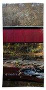 The Wissahickon Creek In Autumn - Thomas Mill Covered Bridge Bath Towel