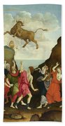 The Worship Of The Egyptian Bull God Apis Bath Towel