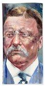 Theodore Roosevelt Watercolor Portrait Bath Towel