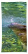 There She Blows Manatee Bath Towel