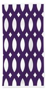 Thick Curved Trellis With Border In Purple Bath Towel