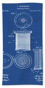 Thread Spool Patent 1877 Blueprint Bath Towel