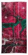 Three Antelope On Red Bath Towel