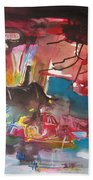 Three Arms10  Original Abstract Colorful Landscape Painting For Sale Red Blue Green Bath Towel