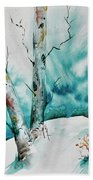 Three Aspens On A Snowy Slope Bath Towel